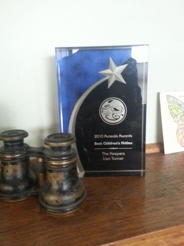 Aurealis award on mantlepiece