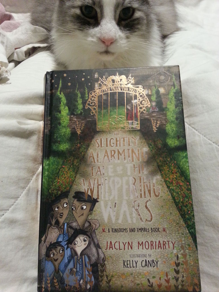 Harry looking at the cover of The Slightly Alarming Tale of the Whispering Wars.