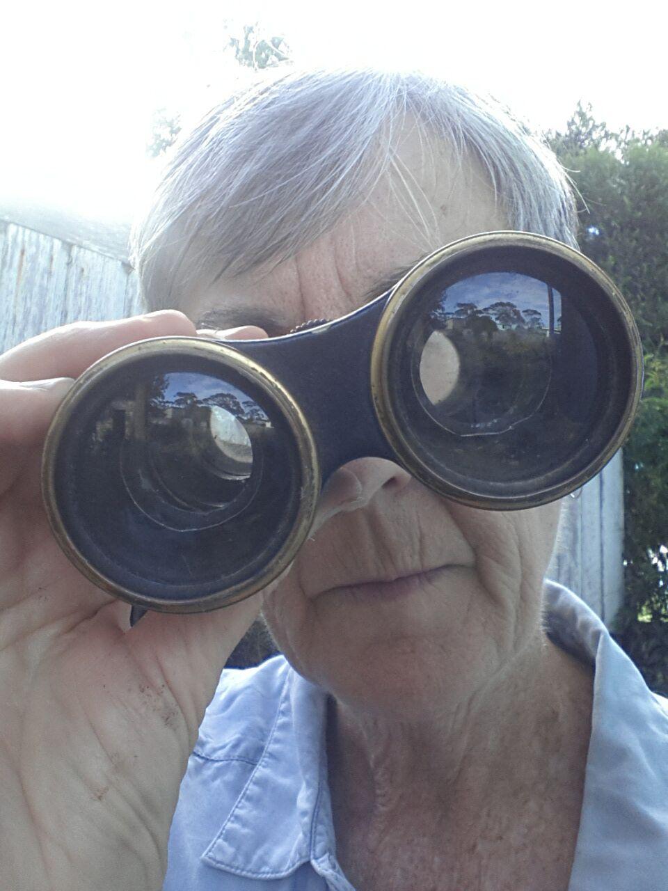 The author looking through binoculars.