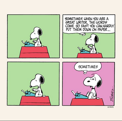 Snoopy sitting on his kennel with a typewriter.