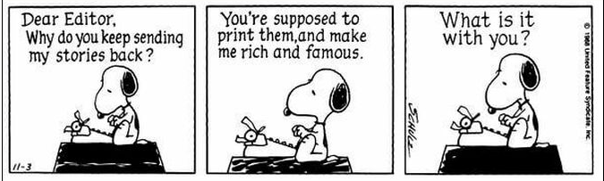 Snoopy sitting on his kennel writing a letter to the editor